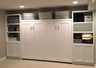 Twin Murphy Bed Basement Transitional With Renovation Horizontal