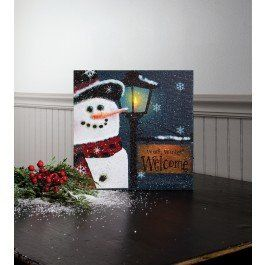Xmas Snowman Welcome Light Up Led Canvas Wall Art Lighted Canvas Canvas Wall Art Wall Art