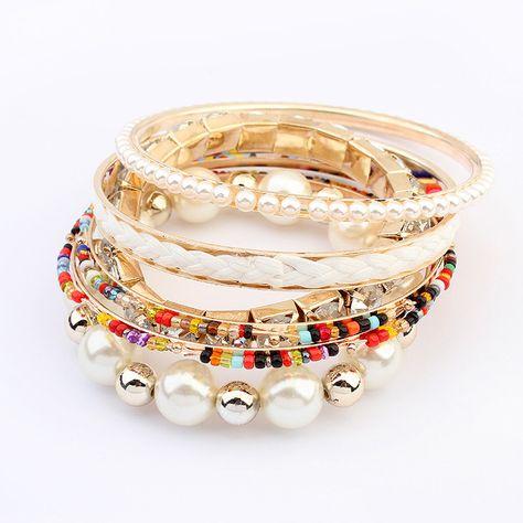 c3ca653c8a0 aleación de zinc Bangle Set, con Perlas de plástico ABS, chapado en oro  real, 6-aro, multicolor, 7cm, diámetro interior:aproximado 70mm,  longitud:aproximado ...