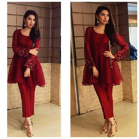 """""""Mahirah Khan @mahirahkhan ready to kick start Ho Mann Jahan promotions weeks before the release of the movie. Looking gorgeous in our scarlet overlap…"""""""