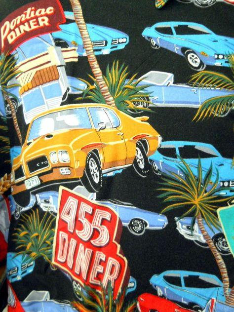 Vintage GTOs David Carey Originals PONTIAC HAWAIIAN CAMP SHIRT Trans Ams