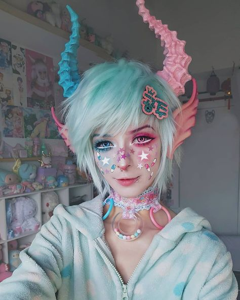 💖💙 . . Chocker made by me♡ . . Horns and ears by @malicious.x (Horns painted by me) . . . . . . . . . . . . . . . #kawaii #kawaiistyle…