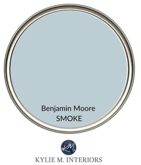 Best calming paint colour for stress free room. Relaxing colour from Benjamin Moore, Smoke, blue-gray. Kylie M Interiors Edesign, online paint color consultant. Soothing Paint Colors, Blue Gray Paint Colors, Relaxing Colors, Bedroom Paint Colors, Interior Paint Colors, Paint Colors For Home, House Colors, Blue Living Room Paint, Kitchen Paint Colours