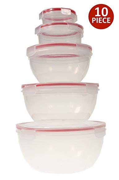 Handi Ware 10 Piece Mixing Bowl Set Leak Resistant Snap Lids Bpa Free Freezer Safe Dishwasher Safe Microwave Safe Mixing Bowls Set Bowl Bowl Set