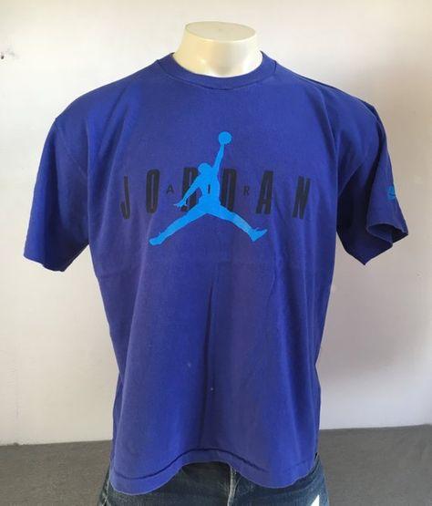 2fcdc62d758b NIKE AIR JORDAN Shirt 90s Vintage  Michael Jordan Jump Man Shirt  Classic  Blue Sneakers UsA Made Siz