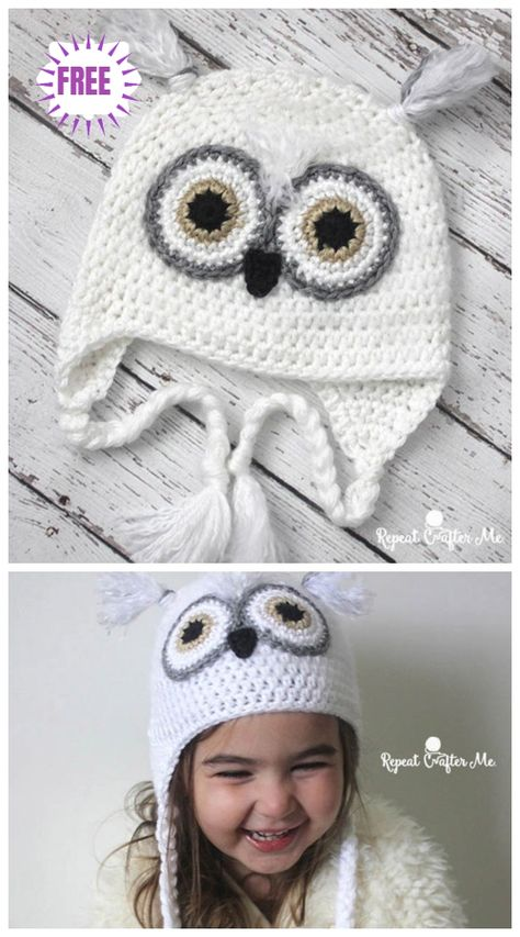 Crochet Owl Hat Free Patterns Crochet Baby Snowy Owl Hat Free Crochet Pattern Learn the fact (generi Crochet Baby Boy Hat, Crochet Owl Hat, Crochet Hats For Boys, Crochet Baby Blanket Beginner, Crochet Gifts, Baby Knitting, Baby Boy Hats, Kids Crochet, Crocheted Hats