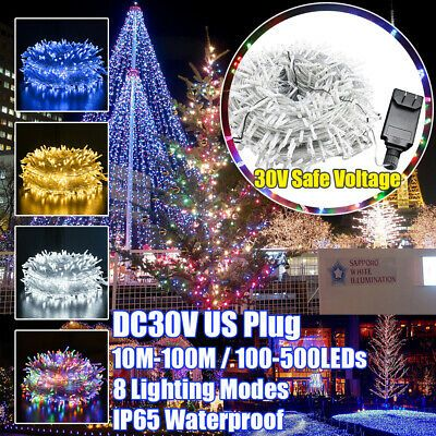10-100M LED Fairy String Lights Mains Plug in Xmas Tree Party In//Outdoor Decor