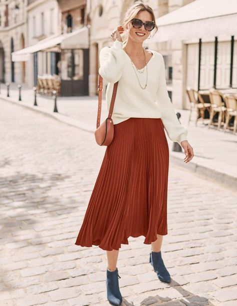 Cognac Boots and Midi Skirt + best weekend sales ~ Lilly Style