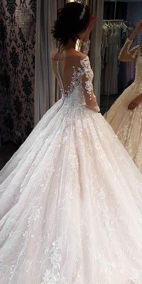 30 Ball Gown Wedding Dresses Fit For A Queen ❤ ball gown wedding dresses with long sleeves illusion back floral noranaviano sposa #weddingforward #wedding #bride