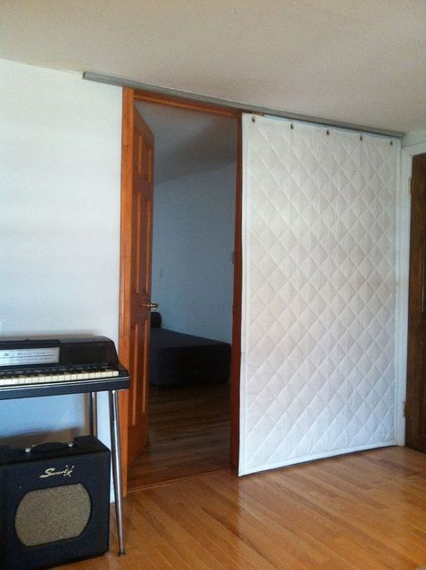 Quilted Curtain Covering Door Sound Proofing Soundproofing