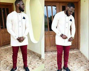 African Wear Bespoke Men/'s Dashiki African Groomsmen Wedding Suit African men clothing Dashiki Shirt