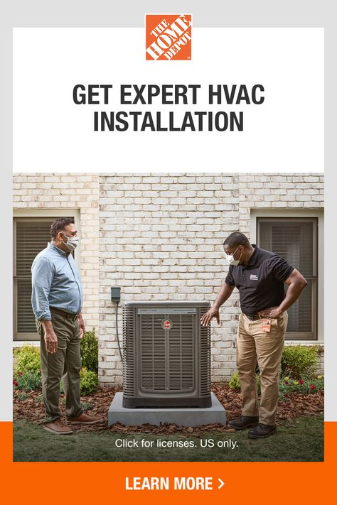 If your HVAC system could use an upgrade, Home Services has got you covered. Our local, certified professionals are ready to take care of your cooling and heating needs. We install reliable, trusted HVAC brands, with all work backed by The Home Depot. Tap to learn more about Home Services today.