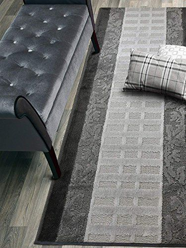 Custom Size Leaves Hallway Runner Rug Slip Resistant 26 Inch Wide X Your Choice Of Length Size Anthracite 26 In 2020 Rugs Slipping Rug Runner Hallway Hallway Runner