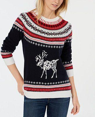 Macys Christmas Sweaters.Tommy Hilfiger Reindeer Fair Isle Sweater Created For