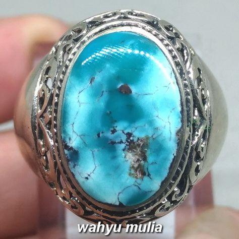 Cincin Batu Pirus Persia Biru Porselen Asli Kode 1112 Asli Biru Dan Ungu