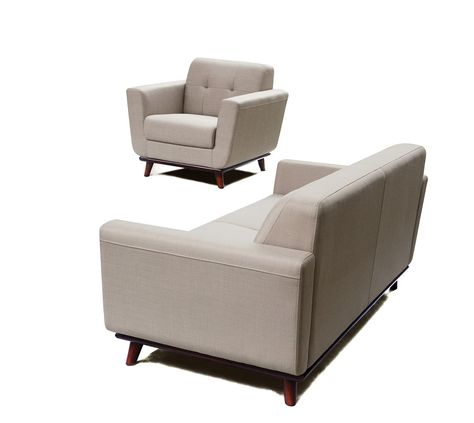 Coco Sofa Chair 2PC Set in Sand Fabric with Wood Leg & Trim