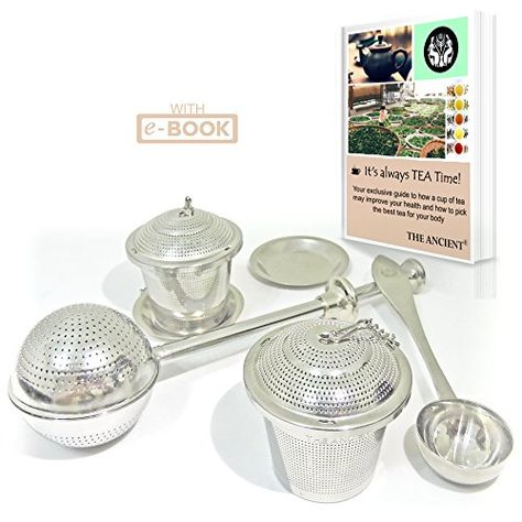 Set of 2 with Tea Scoop Ultra Fine Loose Leaf Tea Strainer and Steeper for a Superior Brewing Experience by Apace Living Premium Long Handle Tea Infuser