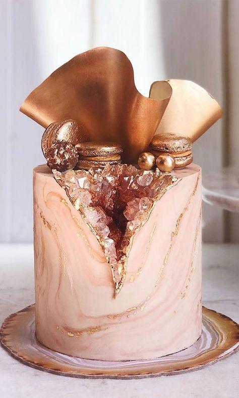birthday cake, birthday cake, pink and blue cake #birthdaycake #birhtday geode cake Elegant Birthday Cakes, Pretty Birthday Cakes, 21st Birthday Cakes, Pretty Cakes, Cute Cakes, Designer Birthday Cakes, Beautiful Cake Designs, Beautiful Cakes, Amazing Cakes