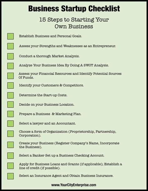 15 steps to starting your own business #smallbusiness #startupchecklist
