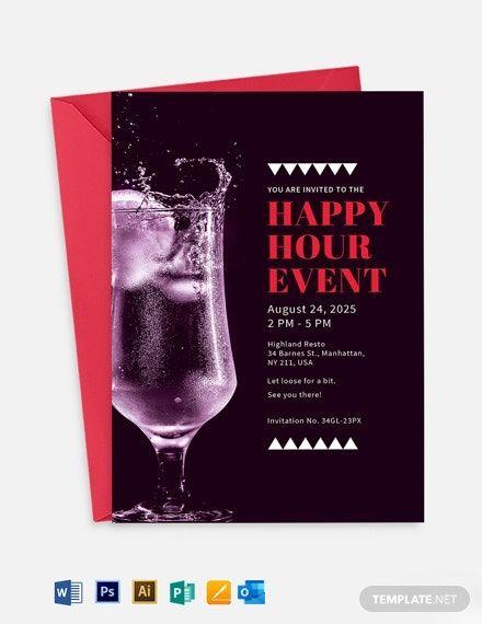 Happy Hour Invitation Sample : happy, invitation, sample, Instantly, Download, Happy, Event, Invitation, Template,, Sample, Exampl…, Wedding, Invitations, Printable, Templates,, Templates