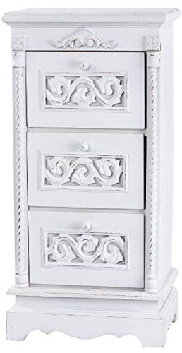 Kommode Nachttisch Nachtschrank Mit 3 Schubladen 64 X 34cm Weiss