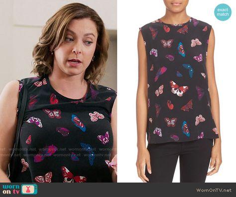 39381fc7c0c012 Equipment Kyle Butterfly Print Silk Top | Crazy Ex-Girlfriend Style &  Clothes by WornOnTV | Crazy ex, Crazy ex girlfriends, Tops