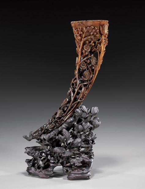 China Antique Horns original unengraved Home Decoration Statue