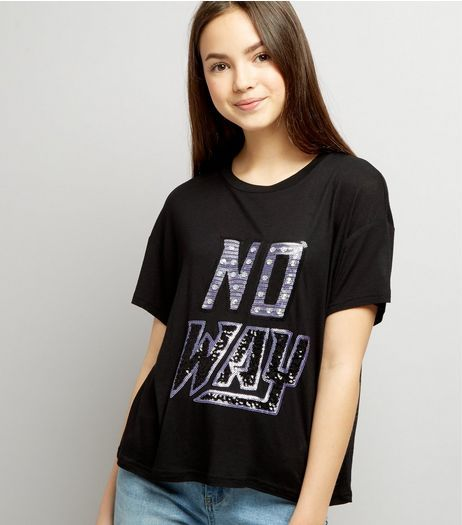 rational construction buy cheap top fashion Teens Black No Way Sequin Embellished Cropped T-Shirt | New ...