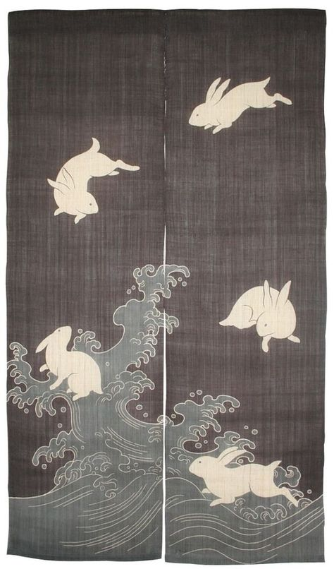 Indigo 'Nami-Usagi' 'Rabbit & Waves' Japanese Noren by Rakushian of Kyoto    eBay