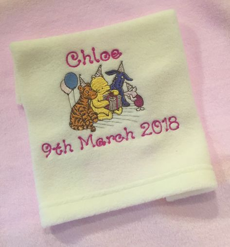 Personalised Embroidered Baby Blanket Your Text,Name,Newborn Christening Gift