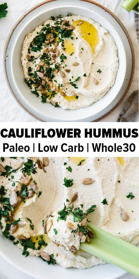 Roasted cauliflower hummus is a delicious chickpea-free version of hummus that's low-carb, keto, paleo and friendly. It's a delicious healthy appetizer recipe. recipes roasted whole Roasted Cauliflower Hummus Cauliflower Hummus, Roasted Cauliflower, Cauliflower Steaks, Hummus Food, Zucchini Hummus, Cauliflower Low Carb Recipes, Crockpot Cauliflower, Potatoes Crockpot, Chickpea Hummus