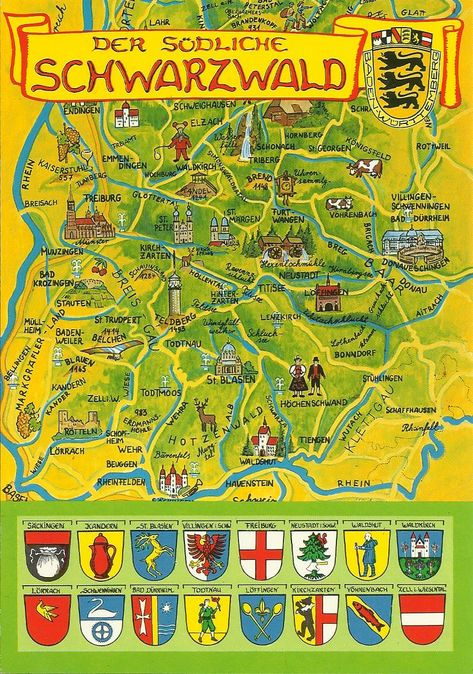 Black Forest Map Germany Schoen Schwarzwald Sudschwarzwald