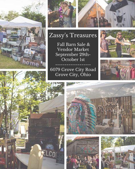 Zassy's Treasures Fall Barn Sale $ Vendor Market 2016 Location: Grove City, Ohio…