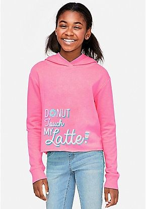 Donut Touch My Latte Hoodie Justice Clothing Tween Outfits Clothes