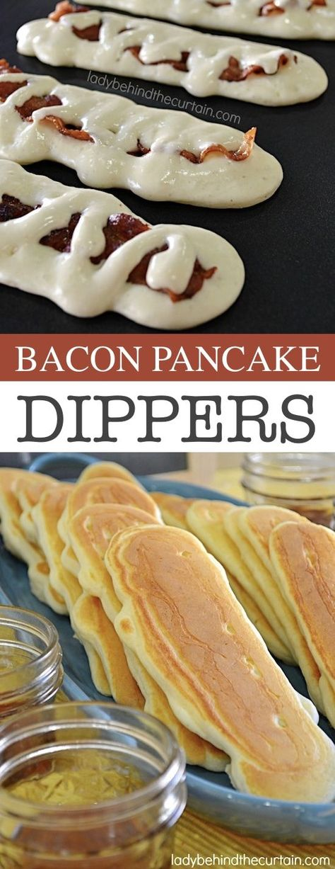 Pancake Dippers -- Quick, fast and easy breakfast recipe ideas for a crowd. - Easy breakfast ideas -Bacon Pancake Dippers -- Quick, fast and easy breakfast recipe ideas for a crowd. - Easy breakfast ideas - One Top Caramel French Toast Bacon Pancake Dippers, Pancakes And Bacon, Puff Pancake, Pancakes Easy, Breakfast For A Crowd, Food For A Crowd, Bacon Breakfast, Breakfast Crockpot, Quick Breakfast Ideas