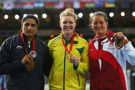 2014 Commonwealth Games Discus - Seema Punia @nd Dani Sammuels (1st) Jade Lally (3rd)