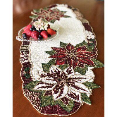 The Holiday Aisle Isenberg Poinsettia Beaded Table Runner Tablecloth Fabric Traditional Tablecloths Vinyl Tablecloth