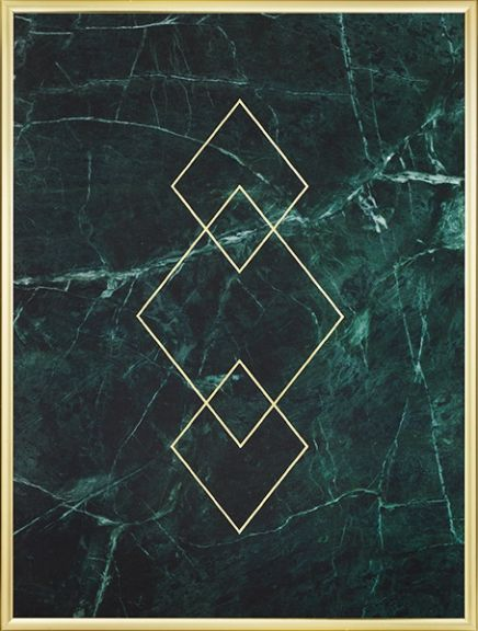 Triangle Gold Green Marble, Poster