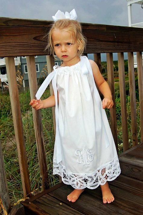 PILLOWCASE DRESS BEACH White Battenburg Lace (good idea for using lace on dust ruffle)