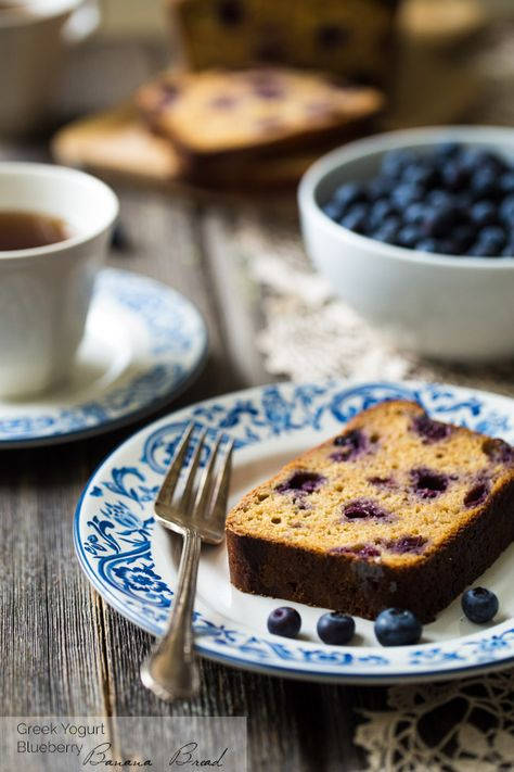Whole Wheat Banana Bread with Greek Yogurt and Blueberries {Super Simple}