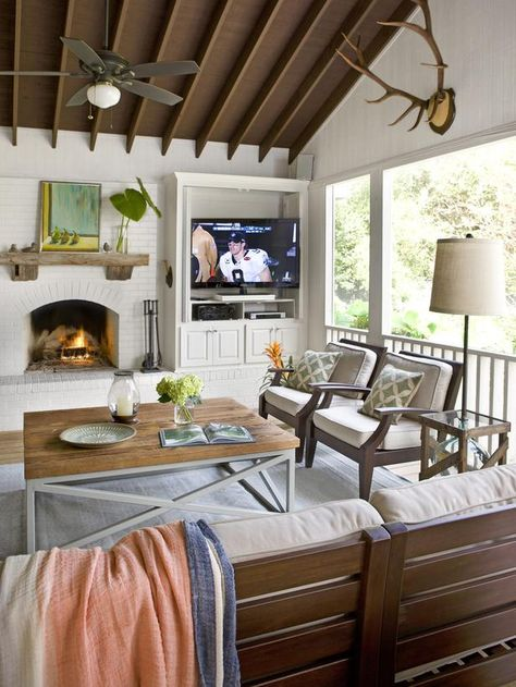"""Could do without the TV, but I like the fireplace """"An Indoor-Outdoor Addition That Does It All"""" : Page 02 : Outdoors : Home & Garden Television magazine"""