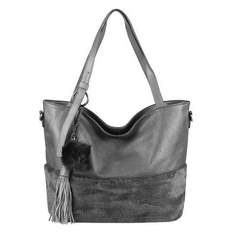 DAMEN HAND-TASCHE PELZ-TASCHE Shopper Schultertasche Umhängetasche Pelz Hobo Bag