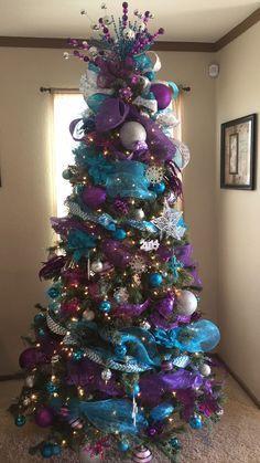 Arboles De Navidad Con Malla Arboles De Navidad Ideas Arbol De Navidad Morados Navidad Turquesa