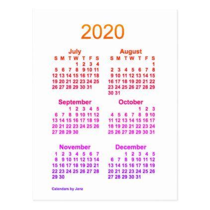 2020 Ipanema 6 Month Mini Calendar By Janz Postcard Zazzle Com In 2020 Calendar Design Calendar 2021 Calendar