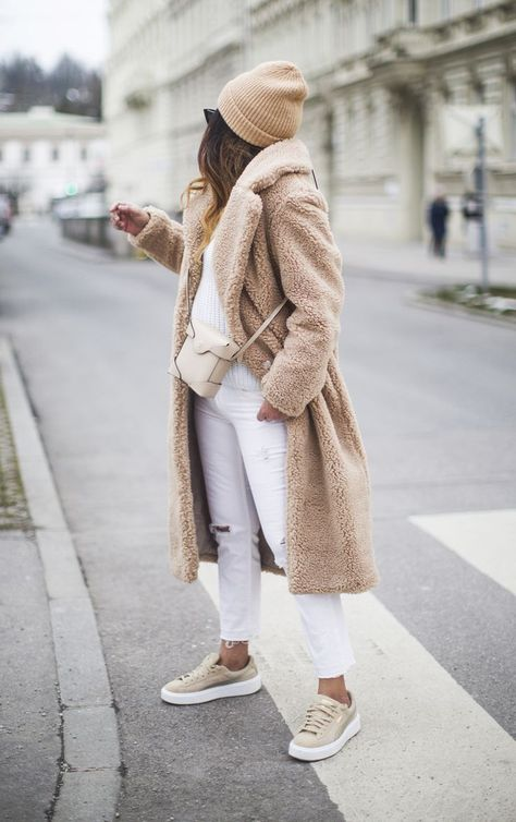 loving this neutral monochrome chic winter outfit idea for young women in their it's the perfect way to rock the latest fashion trend: the teddy bear coat camel coat women