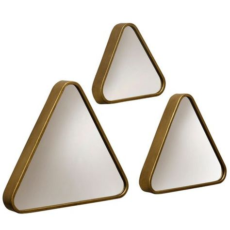 3 Piece Triangular Framed Gold Wall Mirror Set Powder Room Ideas