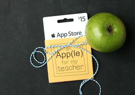 Printable Gift Card Tag for Teachers ~ An App(le) for the teacher…