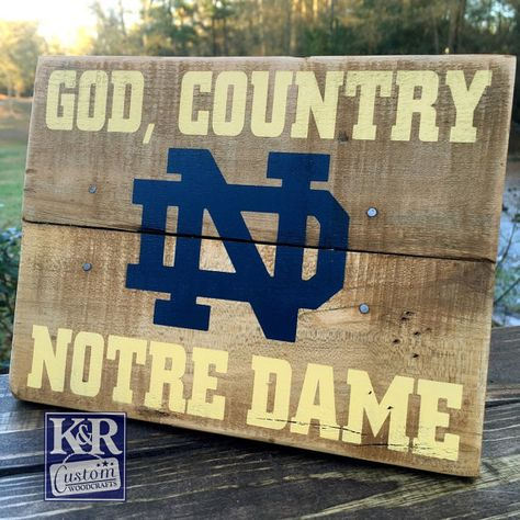 Notre Dame sign Fighting Irish painted by KRCustomWoodcrafts