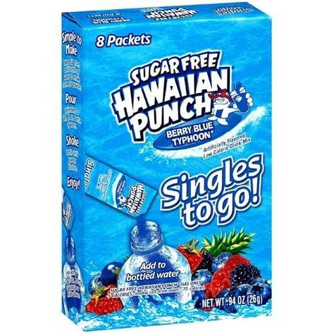 Hawaiian Punch Singles To Go Drink Mix, Berry Blue Typhoon, 8 Count