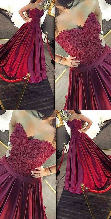 A-Line Sweetheart Sweep Train Maroon Satin Prom Dress with Lace 556a7a2e6